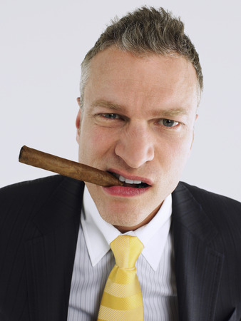 no kw 1: Businessman Smoking Cigar