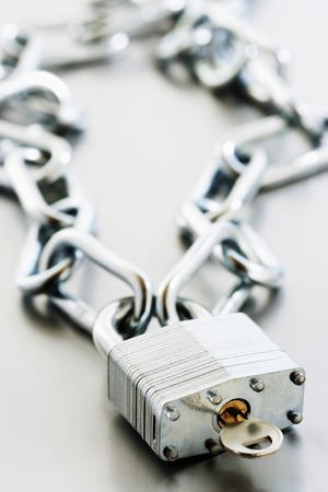 Padlock with Key and Chain Stock Photo - 5487762