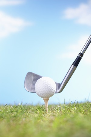golf equipment: Golf Club Teeing Off Ball