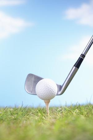 grasses: Golf Club Teeing Off Ball
