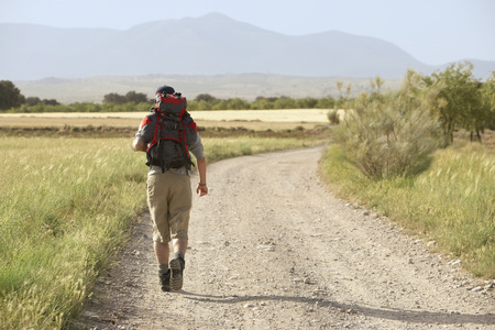 early twenties: Hiker Walking on Country Road LANG_EVOIMAGES
