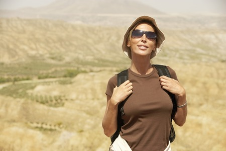 early forties: Hiker in Front of Mountain Range LANG_EVOIMAGES