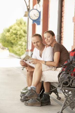 fortysomething: Hikers on Railway Platform LANG_EVOIMAGES