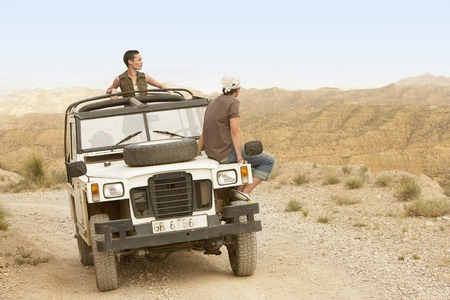 remoteness: Hikers in Land Rover