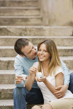 Happy Couple Eating Gelato