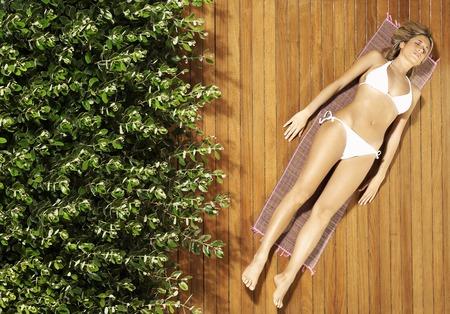 suntanning: Woman Lying in Bikini