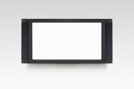 Flat screen television on white wall Stock Photo - 5494269