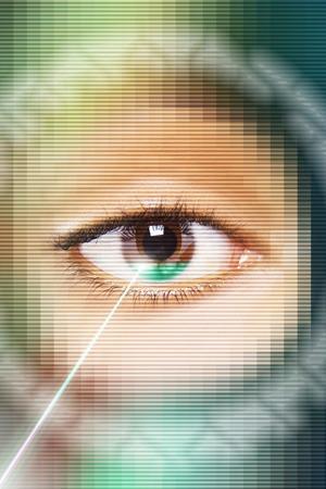 Laser beam on eye, close-up Stock Photo - 5494270