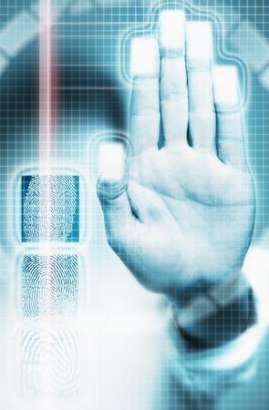 Laser beam beside hand scanner Stock Photo - 5494271