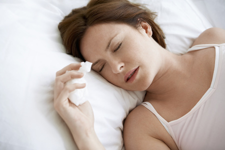 maladies: Woman in Bed with a Cold