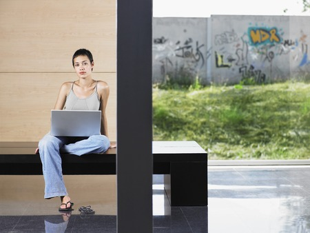 kw: Young Woman Using Laptop LANG_EVOIMAGES