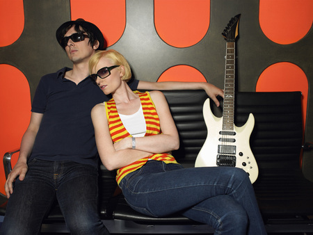 early twenties: Young Couple in Recording Studio
