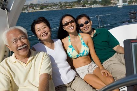 Family on Sailboat Stock Photo - 8822695