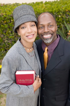 Religious Couple with Bible in garden portrait high angle view Stock Photo - 8822885