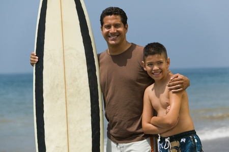 pre teen boys: Father and Son at the Beach