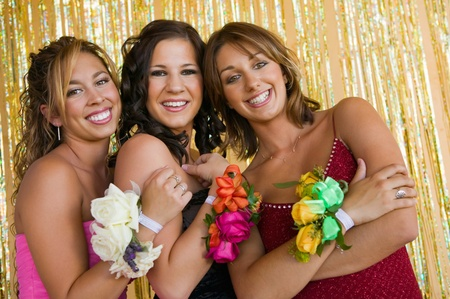Well-dressed teenager girls at school dance portrait Stock Photo - 8836179