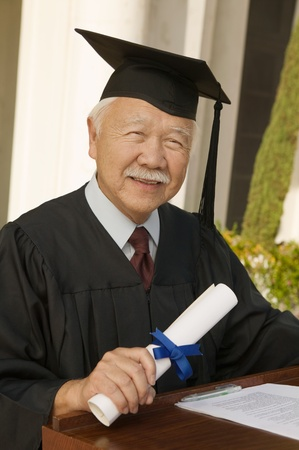 Senior graduate at podium outside portrait Stock Photo - 8836217