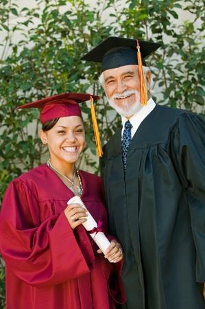 Graduate and dean outside portrait Stock Photo - 8836241