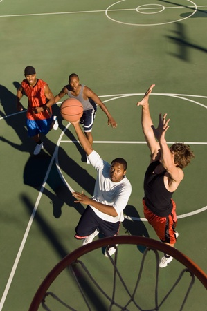 Man shooting basketball elevated view Stock Photo - 8836257