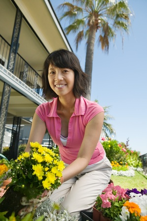 Woman gardening (low angle view)