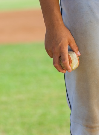 pitcher: Baseball pitcher holding ball (close-up) (mid section)