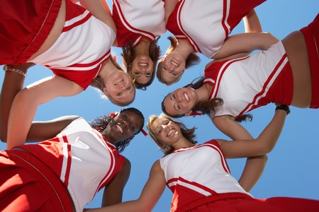 huddle: Cheerleaders in Huddle view from below (view from below) LANG_EVOIMAGES