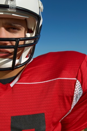 Football Player wearing helmet close-up portrait cropped (close-up) (portrait) Stock Photo - 8836457