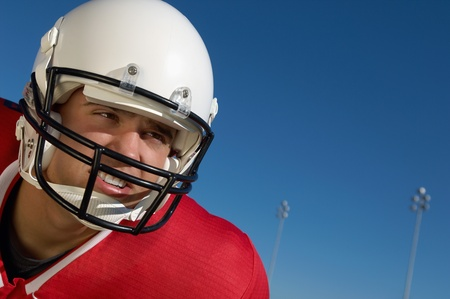 Football Player wearing helmet on field close-up portrait (close-up) (portrait) Stock Photo - 8836458