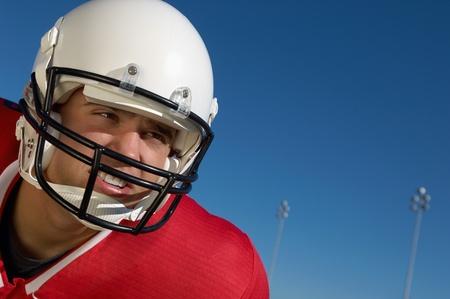 Football Player wearing helmet on field close-up portrait (close-up) (portrait) Stock Photo - 8836458