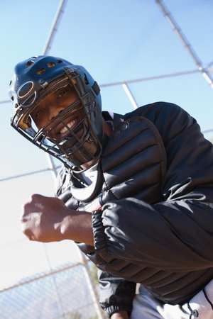 an umpire: Softball umpire portrait low angle view LANG_EVOIMAGES