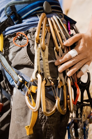 Climber with Carabineers Around Waist mid section close-up Stock Photo - 8837107