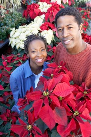 Couple with Poinsettias at florists (portrait) Stock Photo - 8837234