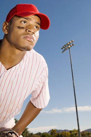 outfield: Baseball outfield player (close-up) LANG_EVOIMAGES