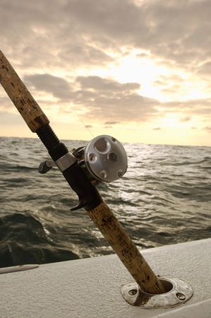 Fishing rod in holder on boat (close-up) Stock Photo - 8837311