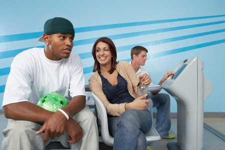 Group of friends at bowling alley Stock Photo - 8837411