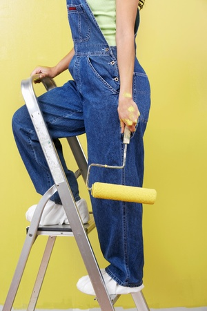 Woman standing on stepladder holding paint roller side view low section Stock Photo - 8837491