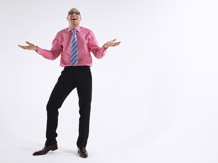 Man in glasses laughing Stock Photo - 8844544