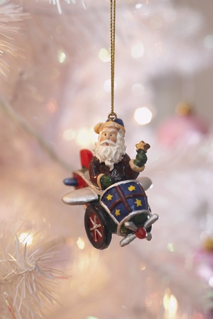 Santa Christmas ornament hanging on tree Stock Photo - 8844635