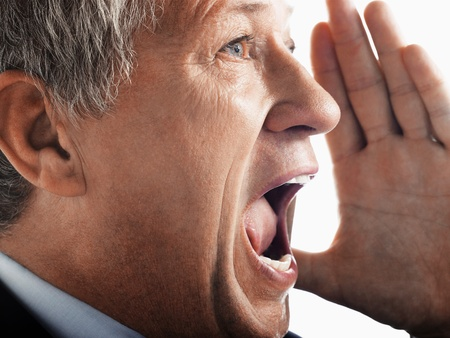 Man yelling side view close-up Stock Photo - 8844754