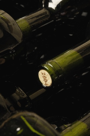 Wine bottles lying down in order Stock Photo - 8844902