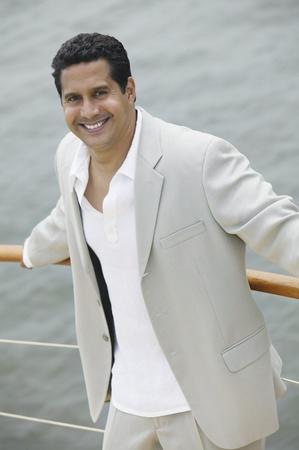 Man on Boat Stock Photo