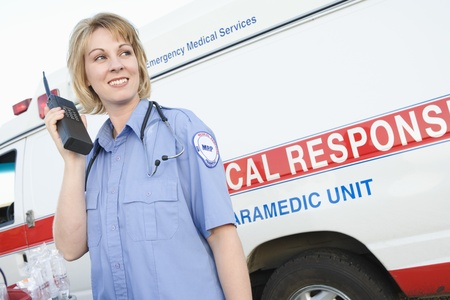 Paramedic with two-way radio Stock Photo - 12513785