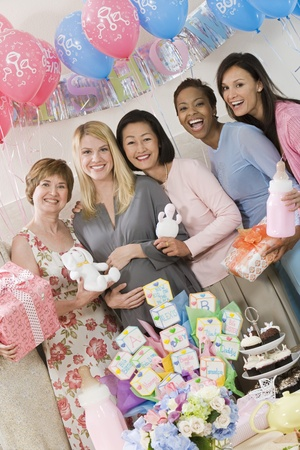 only mid adult women: Pregnant Woman with friends at a Baby Shower