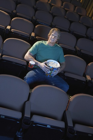 Young Man Watching Movie Stock Photo - 12513947