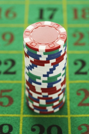 Chips on Roulette Table Stock Photo - 12513963