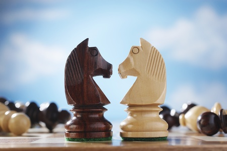 Chess pieces two knights face to face Stock Photo - 12514058