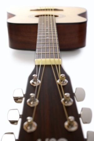 frets: Acoustic guitar in studio surface view