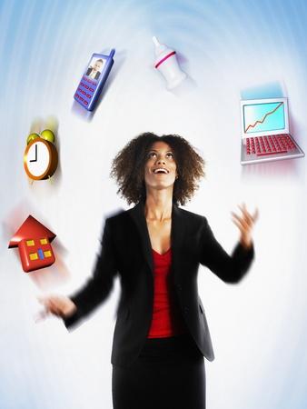 juggling: Working mother juggling responsibilities