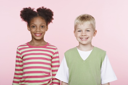 racially diverse: Smiling Girl and Boy Side by Side