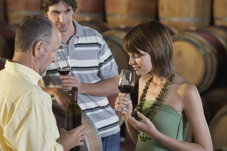 Three people wine-tasting beside wine casks Stock Photo - 12514233